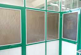 Офисные перегородки с дверями алюминиевые, б/у