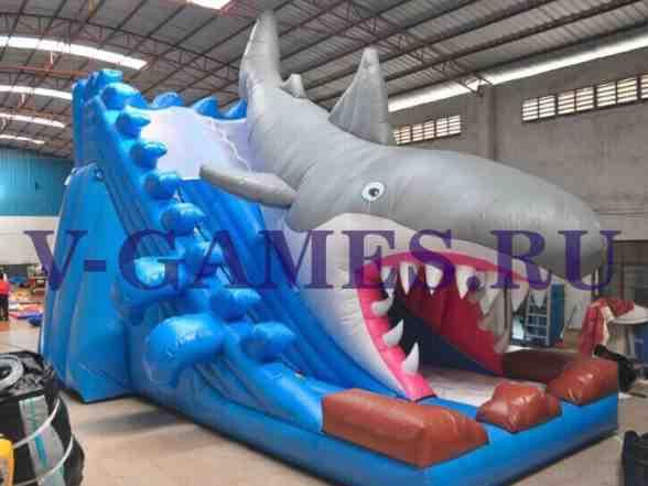 Надувной батут горка - Челюсти Акула