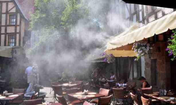 Охлаждение туманом площадок под открытым небом